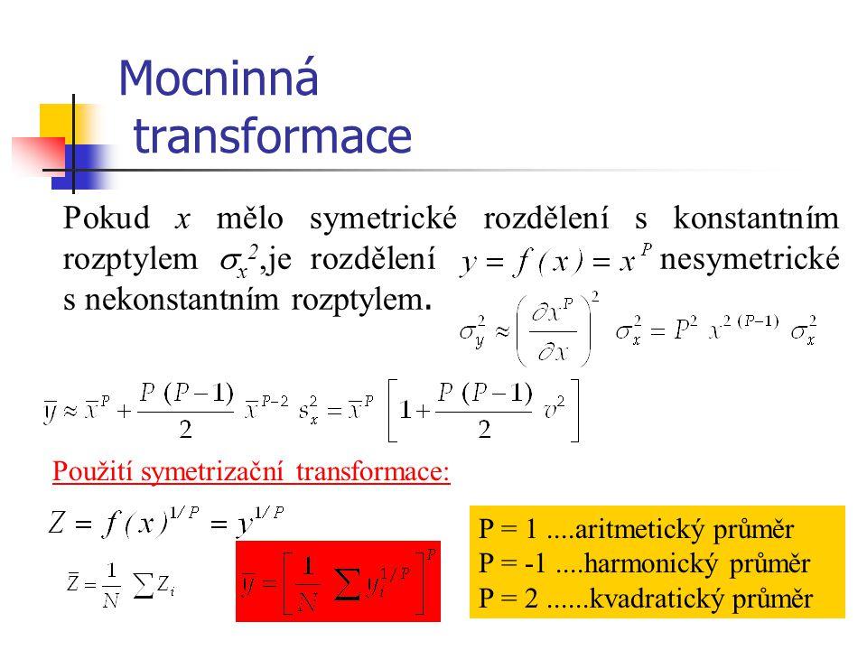 Mocninná transformace Pokud x mělo symetrické rozdělení s konstantním rozptylem  x 2,je rozdělení nesymetrické s nekonstantním rozptylem. Použití sym