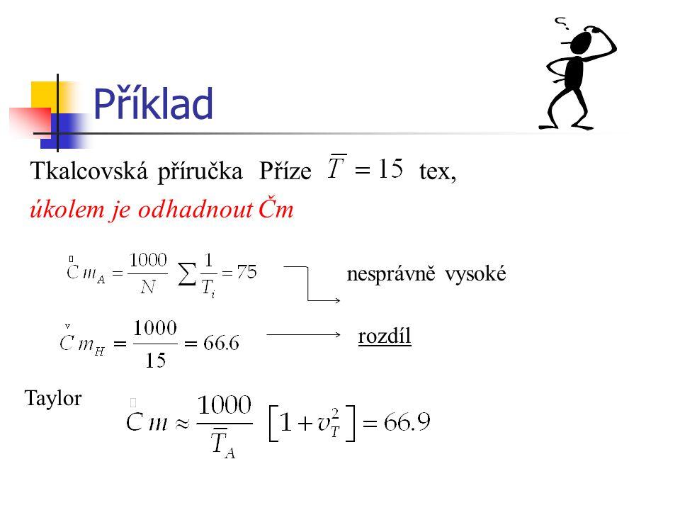 Příklad Tkalcovská příručka Příze tex, úkolem je odhadnout Čm nesprávně vysoké rozdíl Taylor
