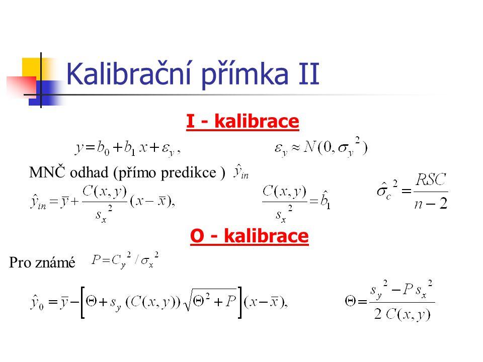 Kalibrační přímka II I - kalibrace MNČ odhad (přímo predikce ) O - kalibrace Pro známé