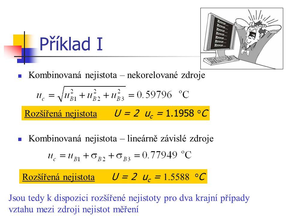 Příklad I Kombinovaná nejistota – nekorelované zdroje Kombinovaná nejistota – lineárně závislé zdroje Rozšířená nejistota U = 2 u c = 1.1958 o C Rozší