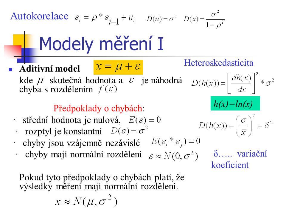 Modely měření I Aditivní model kde skutečná hodnota a je náhodná chyba s rozdělením Předpoklady o chybách: · střední hodnota je nulová, · rozptyl je k