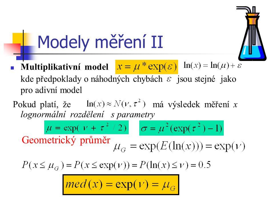Modely měření II Multiplikativní model kde předpoklady o náhodných chybách jsou stejné jako pro adivní model Pokud platí, že má výsledek měření x logn