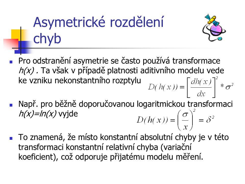 Asymetrické rozdělení chyb Pro odstranění asymetrie se často používá transformace h(x). Ta však v případě platnosti aditivního modelu vede ke vzniku n