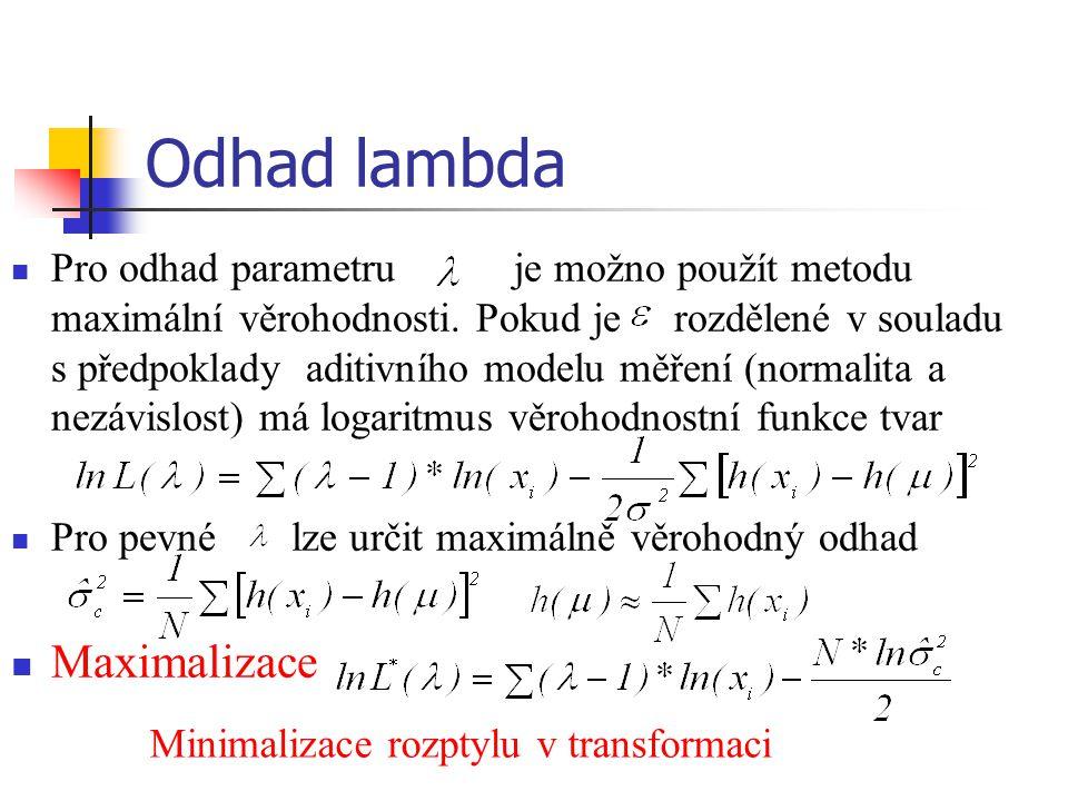 Odhad lambda Pro odhad parametru je možno použít metodu maximální věrohodnosti. Pokud je rozdělené v souladu s předpoklady aditivního modelu měření (n