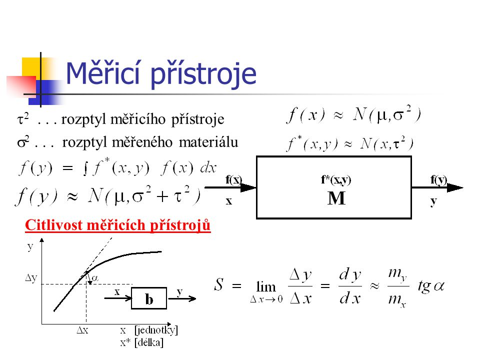 Měřicí přístroje  2... rozptyl měřicího přístroje  2... rozptyl měřeného materiálu Citlivost měřicích přístrojů