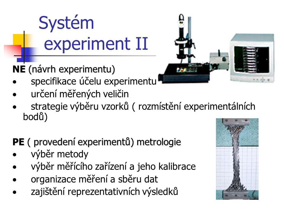 Systém experiment II NE (návrh experimentu)  specifikace účelu experimentu  určení měřených veličin  strategie výběru vzorků ( rozmístění experimen