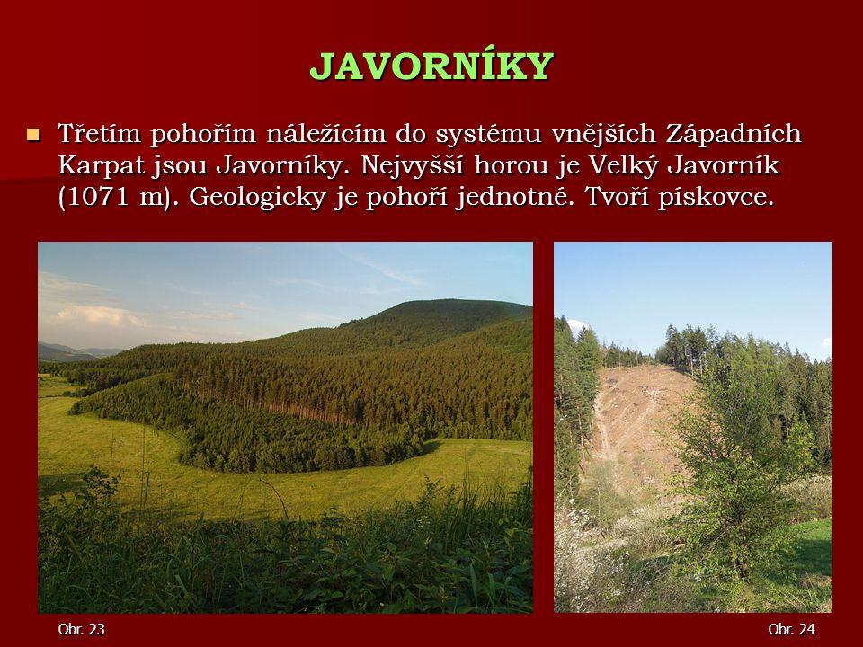 Třetím pohořím náležícím do systému vnějších Západních Karpat jsou Javorníky. Nejvyšší horou je Velký Javorník (1071 m). Geologicky je pohoří jednotné
