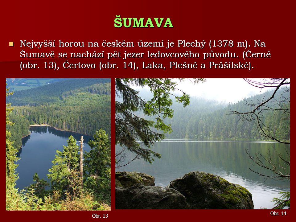 Nejvyšší horou na českém území je Plechý (1378 m). Na Šumavě se nachází pět jezer ledovcového původu. (Černé (obr. 13), Čertovo (obr. 14), Laka, Plešn