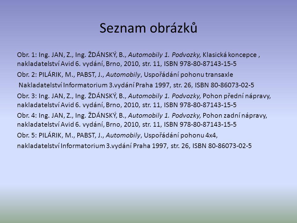 Seznam obrázků Obr. 1: Ing. JAN, Z., Ing. ŽDÁNSKÝ, B., Automobily 1. Podvozky, Klasická koncepce, nakladatelství Avid 6. vydání, Brno, 2010, str. 11,