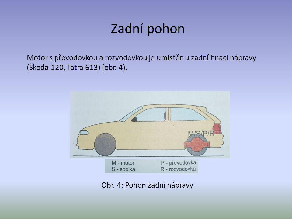 Zadní pohon Motor s převodovkou a rozvodovkou je umístěn u zadní hnací nápravy (Škoda 120, Tatra 613) (obr. 4). Obr. 4: Pohon zadní nápravy
