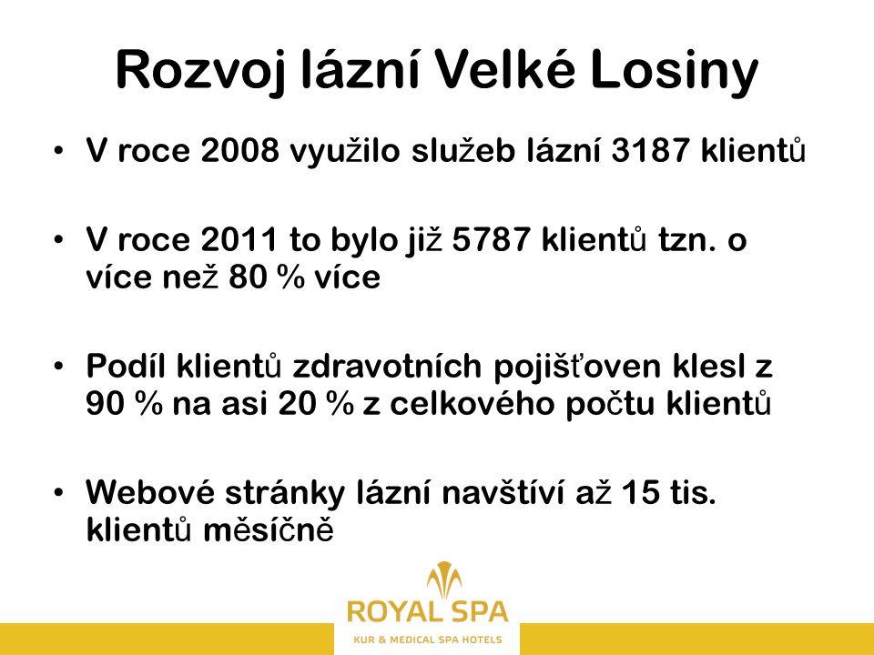 Rozvoj lázní Velké Losiny V roce 2008 vyu ž ilo slu ž eb lázní 3187 klient ů V roce 2011 to bylo ji ž 5787 klient ů tzn.