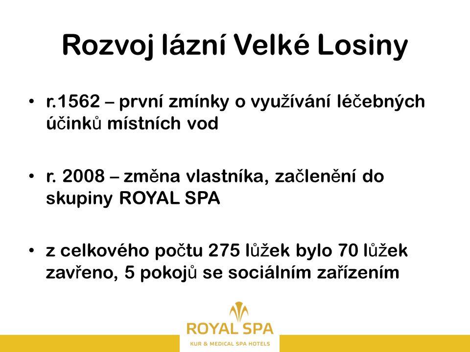Rozvoj lázní Velké Losiny r.1562 – první zmínky o vyu ž ívání lé č ebných ú č ink ů místních vod r.