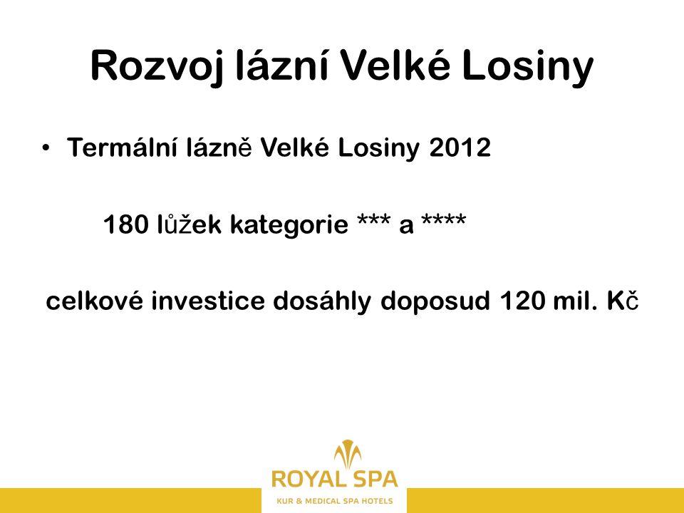 Rozvoj lázní Velké Losiny Termální lázn ě Velké Losiny 2012 180 l ůž ek kategorie *** a **** celkové investice dosáhly doposud 120 mil.