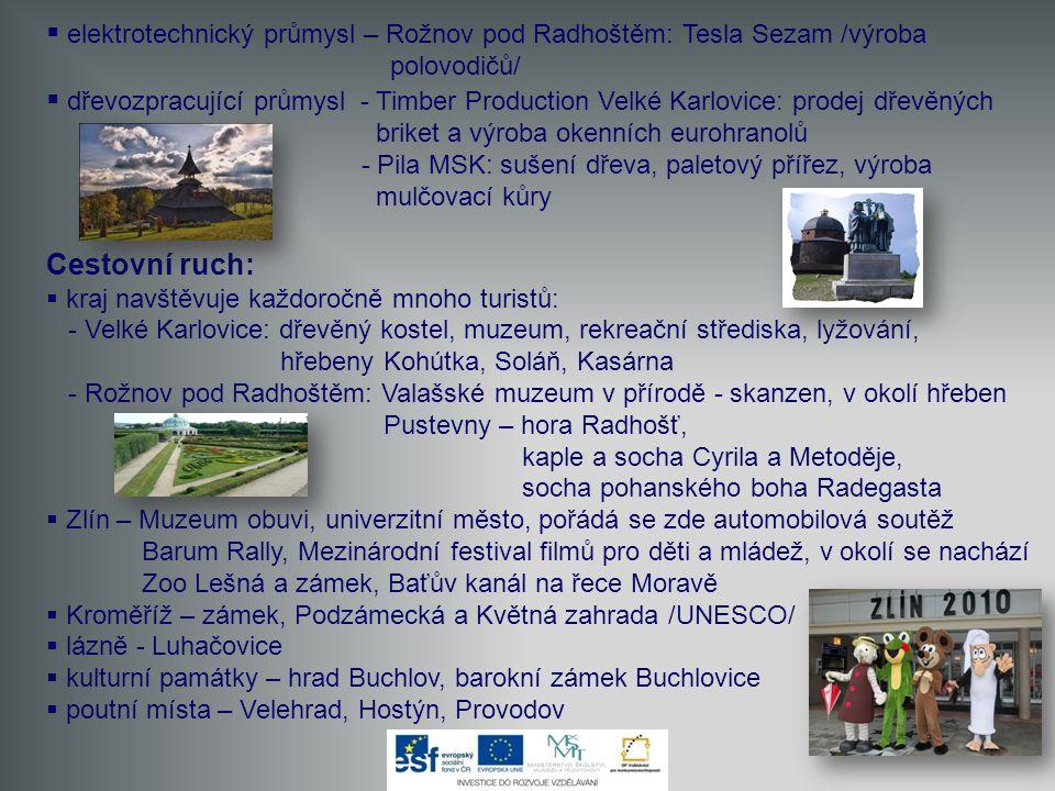  elektrotechnický průmysl – Rožnov pod Radhoštěm: Tesla Sezam /výroba polovodičů/  dřevozpracující průmysl - Timber Production Velké Karlovice: prod