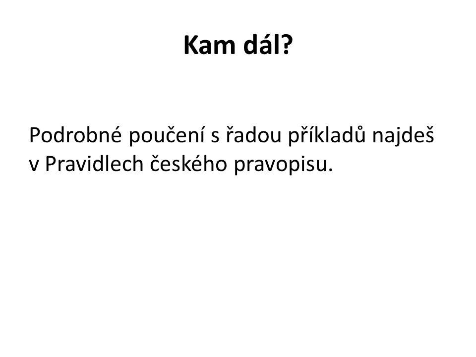 Kam dál? Podrobné poučení s řadou příkladů najdeš v Pravidlech českého pravopisu.