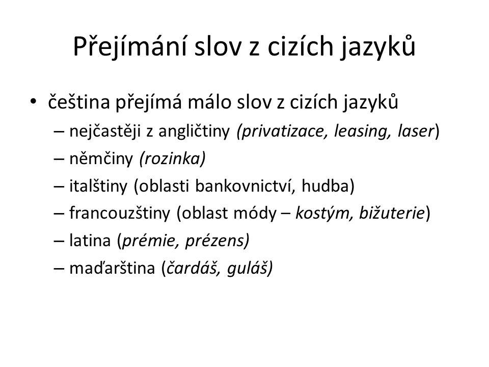 Přejímání slov z cizích jazyků čeština přejímá málo slov z cizích jazyků – nejčastěji z angličtiny (privatizace, leasing, laser) – němčiny (rozinka) – italštiny (oblasti bankovnictví, hudba) – francouzštiny (oblast módy – kostým, bižuterie) – latina (prémie, prézens) – maďarština (čardáš, guláš)