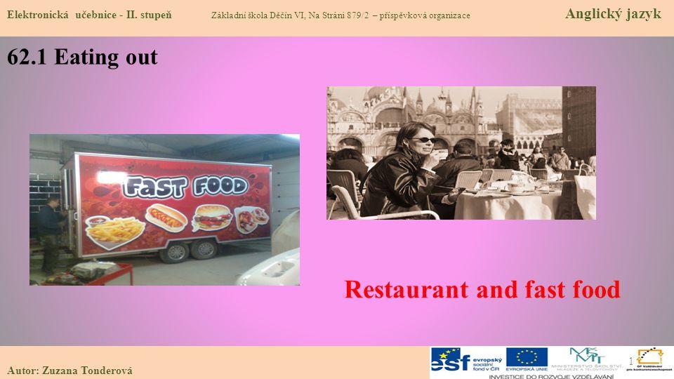 Autor: Zuzana Tonderová 62.1 Eating out Elektronická učebnice - II. stupeň Základní škola Děčín VI, Na Stráni 879/2 – příspěvková organizace Anglický