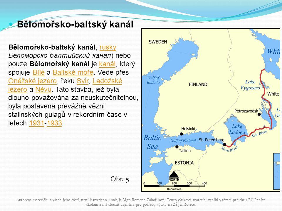 Bělomořsko-baltský kanál Bělomořsko-baltský kanál, rusky Беломорско-балтийский канал) nebo pouze Bělomořský kanál je kanál, který spojuje Bílé a Balts