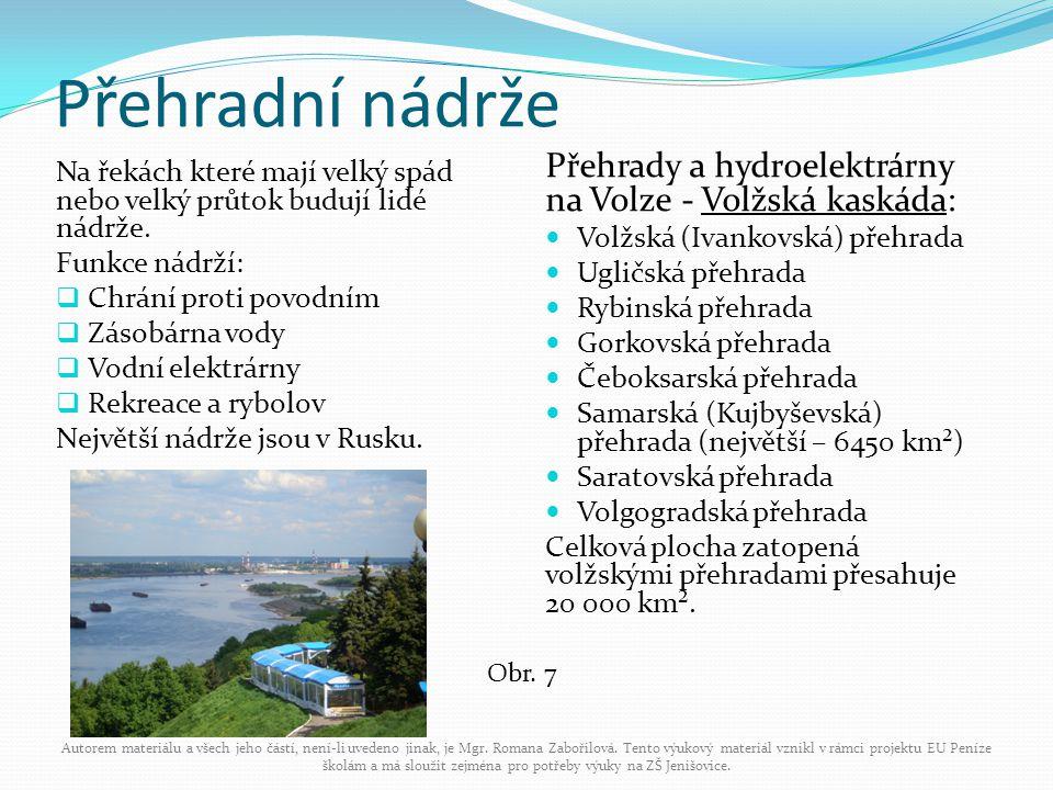 Přehradní nádrže Na řekách které mají velký spád nebo velký průtok budují lidé nádrže. Funkce nádrží:  Chrání proti povodním  Zásobárna vody  Vodní