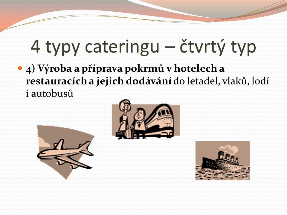 4 typy cateringu – čtvrtý typ 4) Výroba a příprava pokrmů v hotelech a restauracích a jejich dodávání do letadel, vlaků, lodí i autobusů