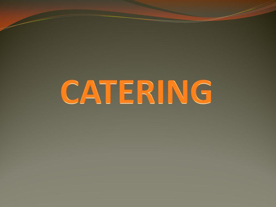 Catering = poskytování stravovacích služeb a služeb se stravováním spojených catering vykonávají specializované cateringové společnosti nebo i jednotlivé restaurační podniky vyžaduje atraktivní gastronomický servis → v budově – in house catering → mimo budovu – outside catering