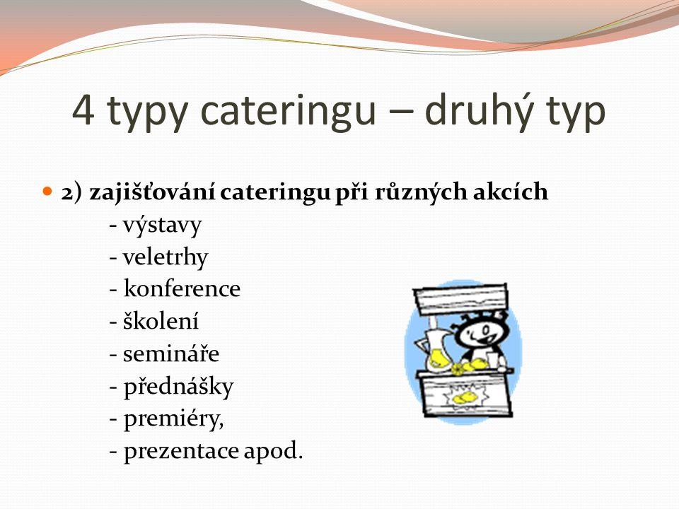 4 typy cateringu – druhý typ 2) zajišťování cateringu při různých akcích - výstavy - veletrhy - konference - školení - semináře - přednášky - premiéry, - prezentace apod.