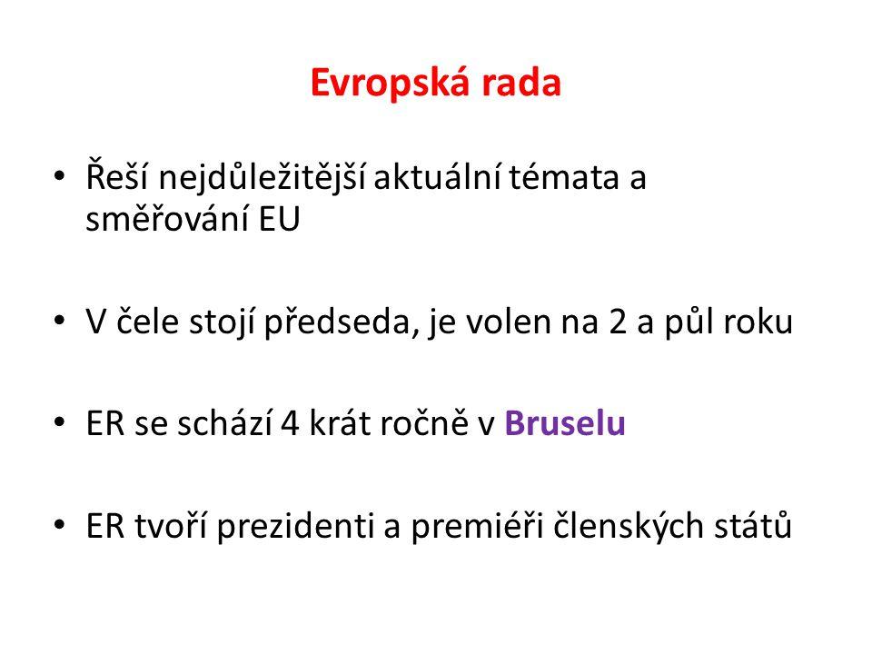 Evropská rada Řeší nejdůležitější aktuální témata a směřování EU V čele stojí předseda, je volen na 2 a půl roku ER se schází 4 krát ročně v Bruselu ER tvoří prezidenti a premiéři členských států