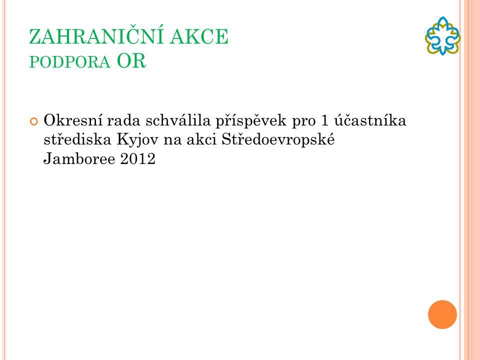 ZAHRANIČNÍ AKCE PODPORA OR Okresní rada schválila příspěvek pro 1 účastníka střediska Kyjov na akci Středoevropské Jamboree 2012