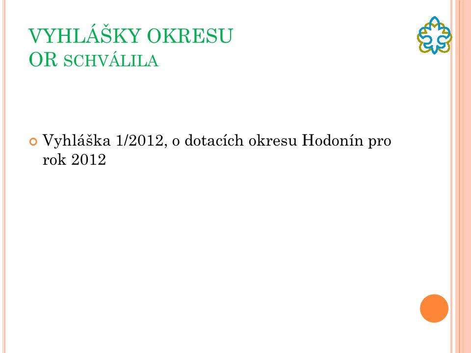 VYHLÁŠKY OKRESU OR SCHVÁLILA Vyhláška 1/2012, o dotacích okresu Hodonín pro rok 2012