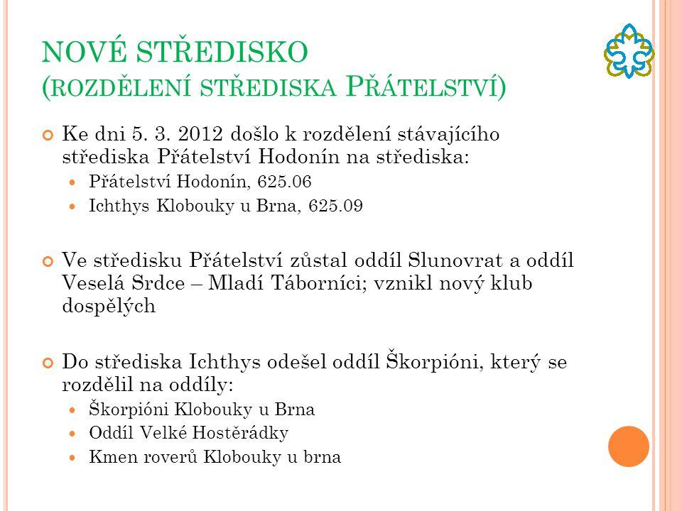NOVÉ STŘEDISKO ( ROZDĚLENÍ STŘEDISKA P ŘÁTELSTVÍ ) Ke dni 5. 3. 2012 došlo k rozdělení stávajícího střediska Přátelství Hodonín na střediska: Přátelst
