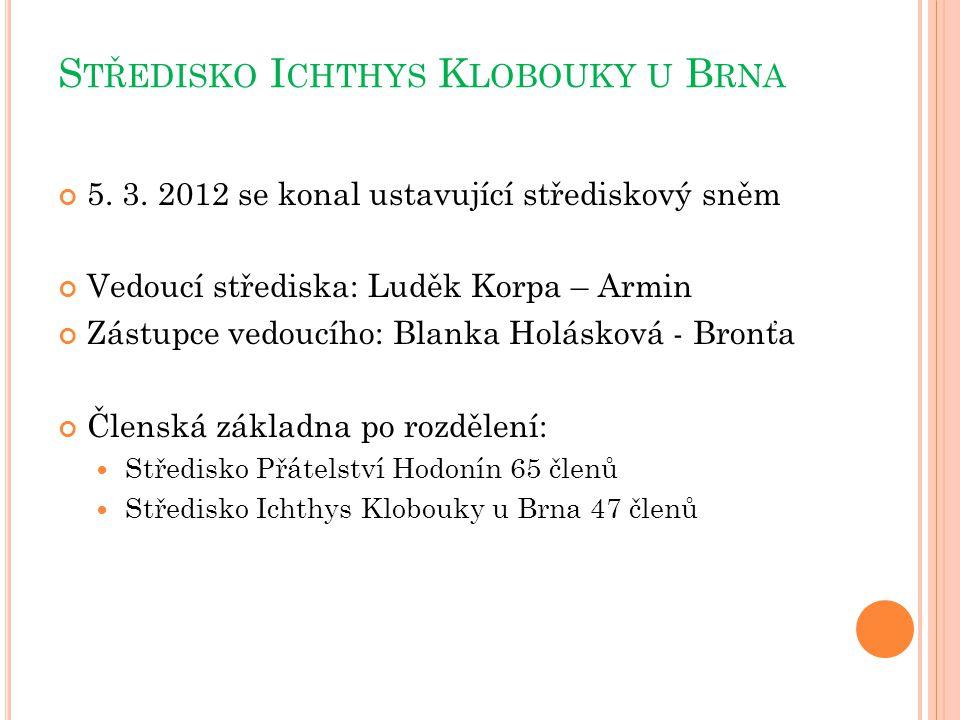 S TŘEDISKO I CHTHYS K LOBOUKY U B RNA 5. 3. 2012 se konal ustavující střediskový sněm Vedoucí střediska: Luděk Korpa – Armin Zástupce vedoucího: Blank