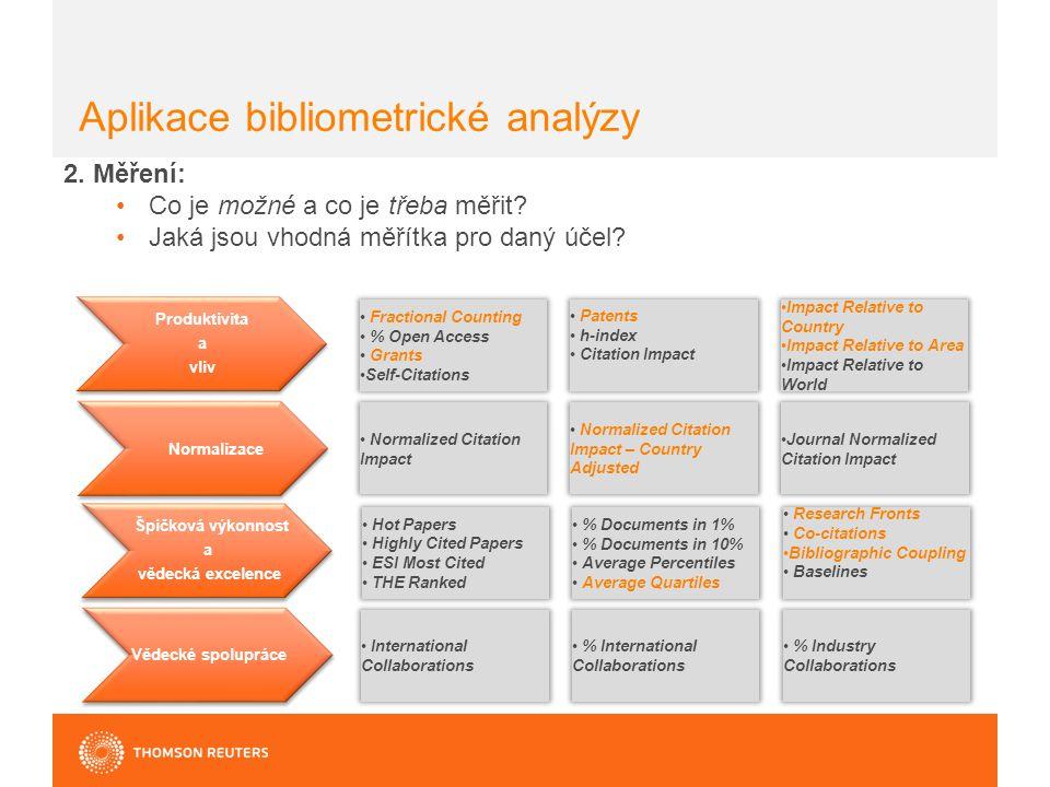Aplikace bibliometrické analýzy 2. Měření: Co je možné a co je třeba měřit.