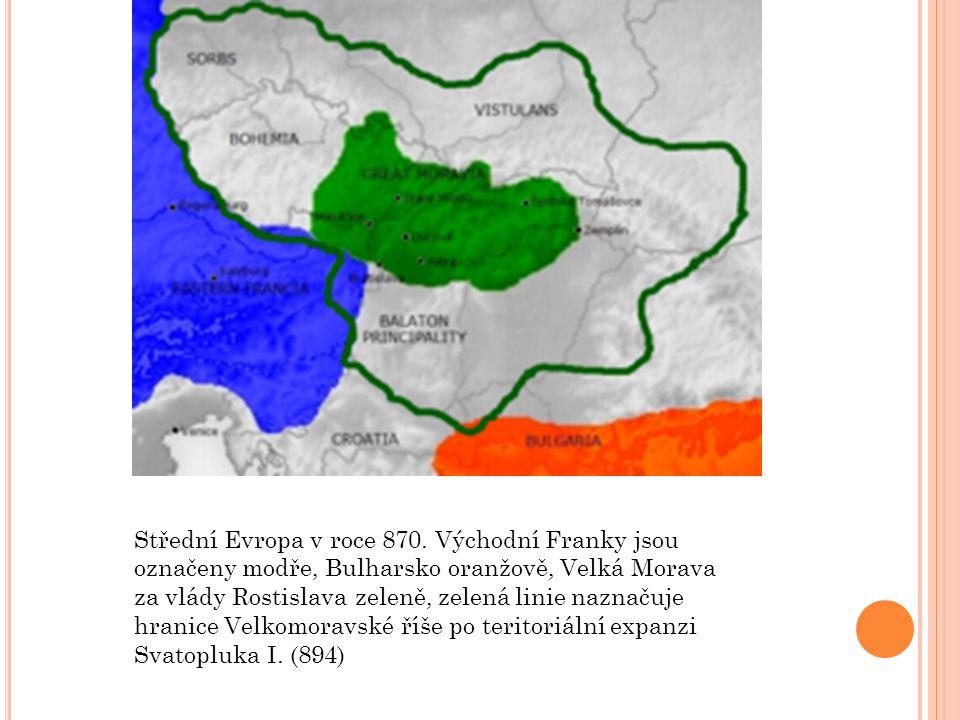 Střední Evropa v roce 870. Východní Franky jsou označeny modře, Bulharsko oranžově, Velká Morava za vlády Rostislava zeleně, zelená linie naznačuje hr