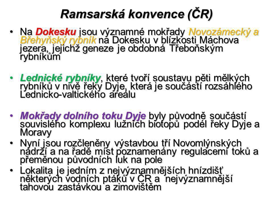 Ramsarská konvence (ČR) Na Dokesku jsou významné mokřady Novozámecký a Břehyňský rybník na Dokesku v blízkosti Máchova jezera, jejichž geneze je obdob