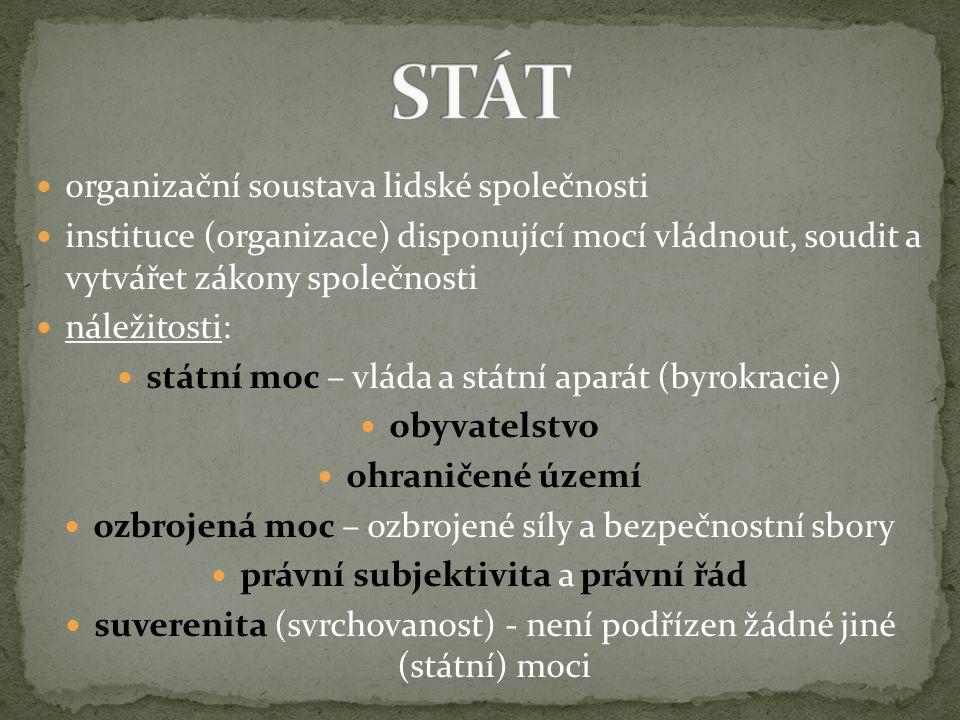 organizační soustava lidské společnosti instituce (organizace) disponující mocí vládnout, soudit a vytvářet zákony společnosti náležitosti: státní moc