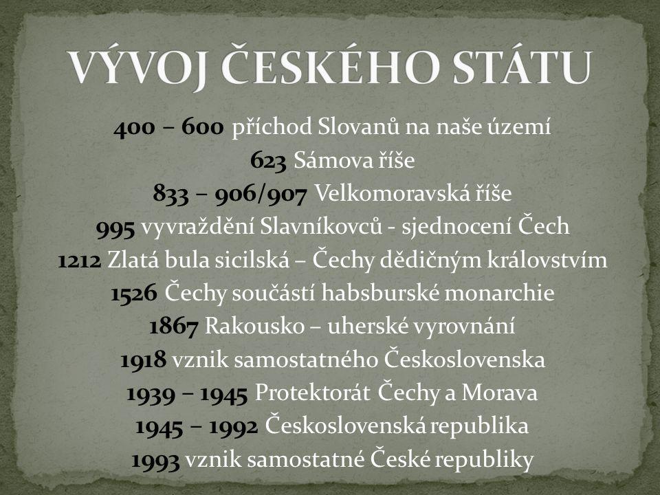 400 – 600 příchod Slovanů na naše území 623 Sámova říše 833 – 906/907 Velkomoravská říše 995 vyvraždění Slavníkovců - sjednocení Čech 1212 Zlatá bula