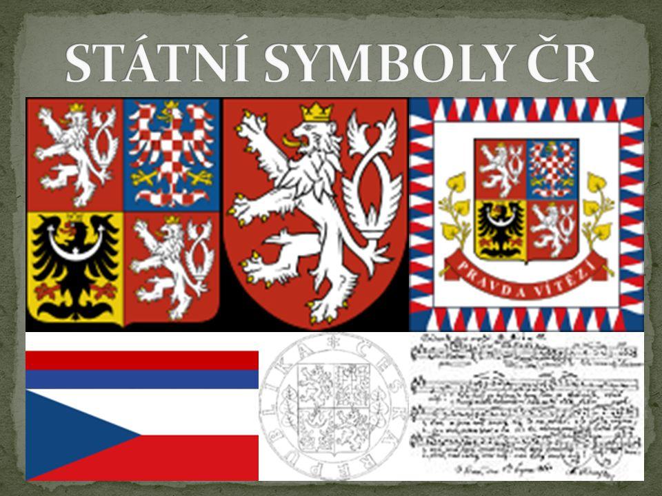Velký státní znak - tvoří čtvrcený štít, v prvním a čtvrtém poli je historický znak Čech (stříbrný dvouocasý lev ve skoku se zlatou zbrojí a zlatou korunou na červeném poli), ve druhém poli se nachází znak Moravy (orlice stříbrno-červeně šachovaná se zlatou zbrojí a korunou na modrém poli), ve třetím poli je znak Slezska (černá orlice se stříbrným půlměsícem, uprostřed s křížkem, ukončeným trojlístky, se zlatou korunou a červenou zbrojí na zlatém podkladu), autorem návrhu i výtvarného provedení je heraldik Jiří Louda, slouží k vnější reprezentaci státu a k označení budov, ve kterých sídlí orgány státní správy a státní úřady Malý státní znak - je tvořen červeným polem, na kterém je umístěn historický znak Čech: stříbrný dvouocasý lev ve skoku se zlatou zbrojí a zlatou korunou, používá se na místech, kde dochází k rozhodnutí ze státní moci, a k označení sídel orgánů, které byly pověřeny výkonem státní moci