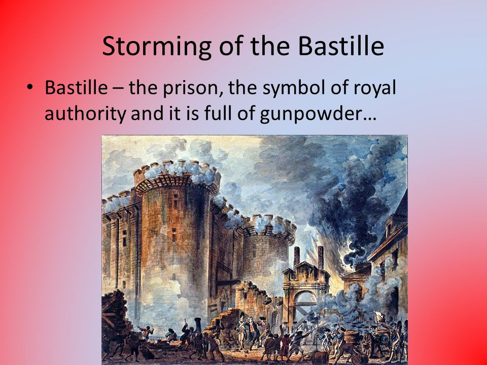 Storming of the Bastille Bastille – the prison, the symbol of royal authority and it is full of gunpowder…