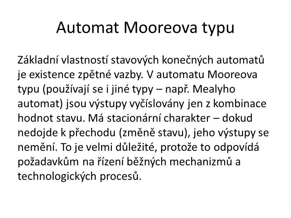 Automat Mooreova typu Základní vlastností stavových konečných automatů je existence zpětné vazby.