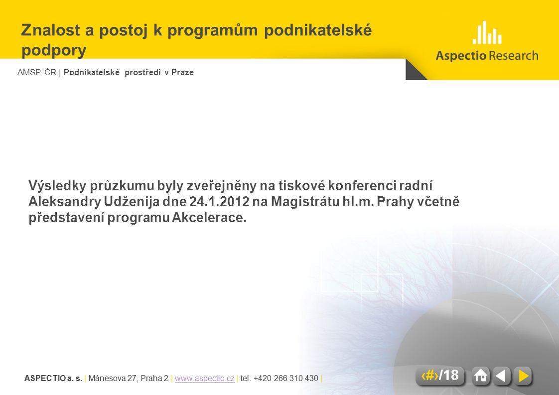 AMSP ČR | Podnikatelské prostředí v Praze ASPECTIO a. s. | Mánesova 27, Praha 2 | www.aspectio.cz | tel. +420 266 310 430 |www.aspectio.cz 17/18 ASPEC