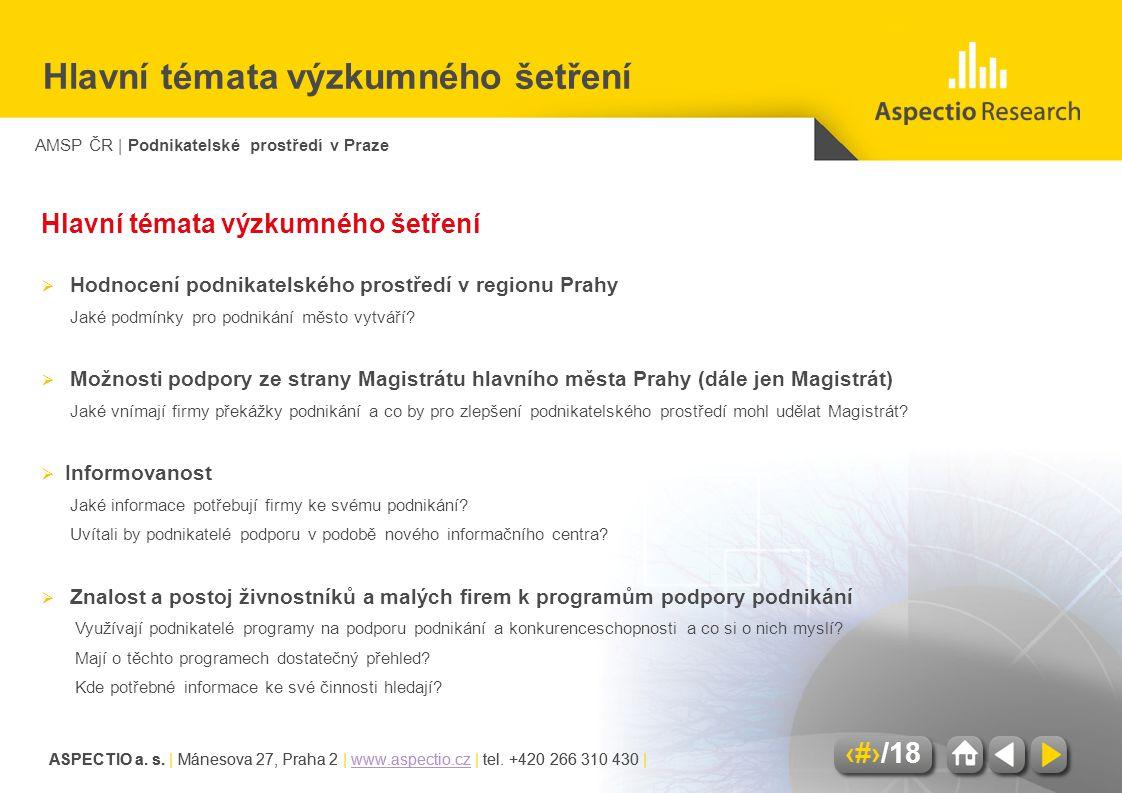 AMSP ČR | Podnikatelské prostředí v Praze ASPECTIO a. s. | Mánesova 27, Praha 2 | www.aspectio.cz | tel. +420 266 310 430 |www.aspectio.cz 2/18 ASPECT