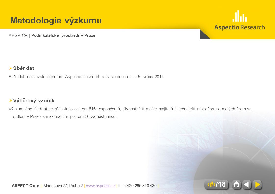 AMSP ČR | Podnikatelské prostředí v Praze ASPECTIO a. s. | Mánesova 27, Praha 2 | www.aspectio.cz | tel. +420 266 310 430 |www.aspectio.cz 3/18 ASPECT