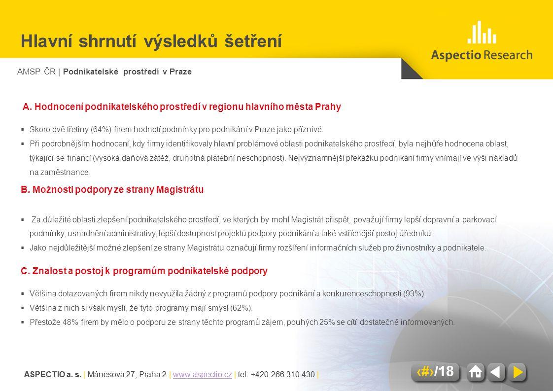 AMSP ČR | Podnikatelské prostředí v Praze ASPECTIO a. s. | Mánesova 27, Praha 2 | www.aspectio.cz | tel. +420 266 310 430 |www.aspectio.cz 4/18 ASPECT