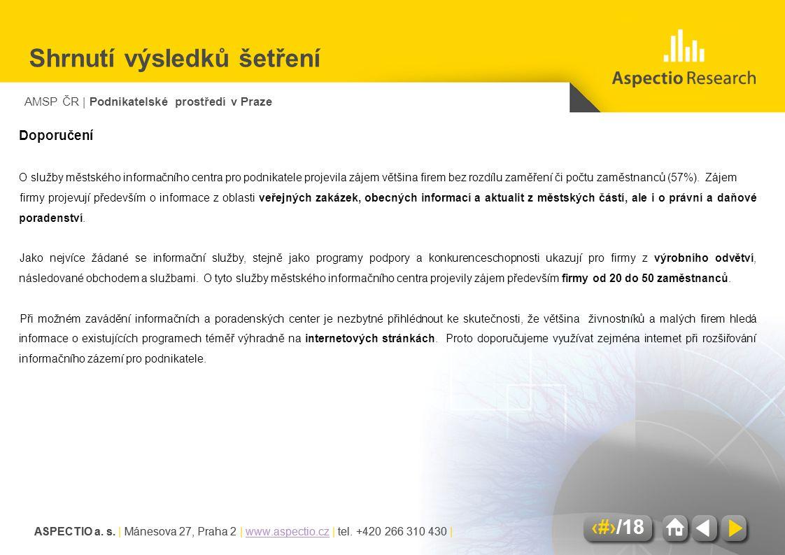 AMSP ČR | Podnikatelské prostředí v Praze ASPECTIO a. s. | Mánesova 27, Praha 2 | www.aspectio.cz | tel. +420 266 310 430 |www.aspectio.cz 6/18 ASPECT