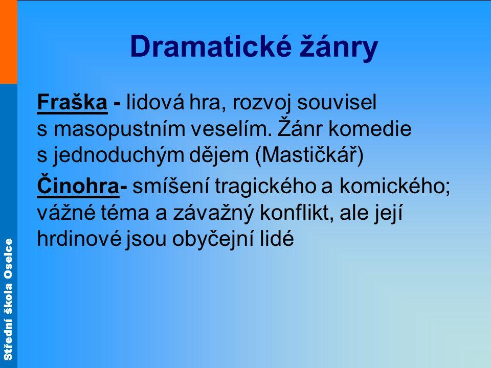 Střední škola Oselce Dramatické žánry Fraška - lidová hra, rozvoj souvisel s masopustním veselím. Žánr komedie s jednoduchým dějem (Mastičkář) Činohra