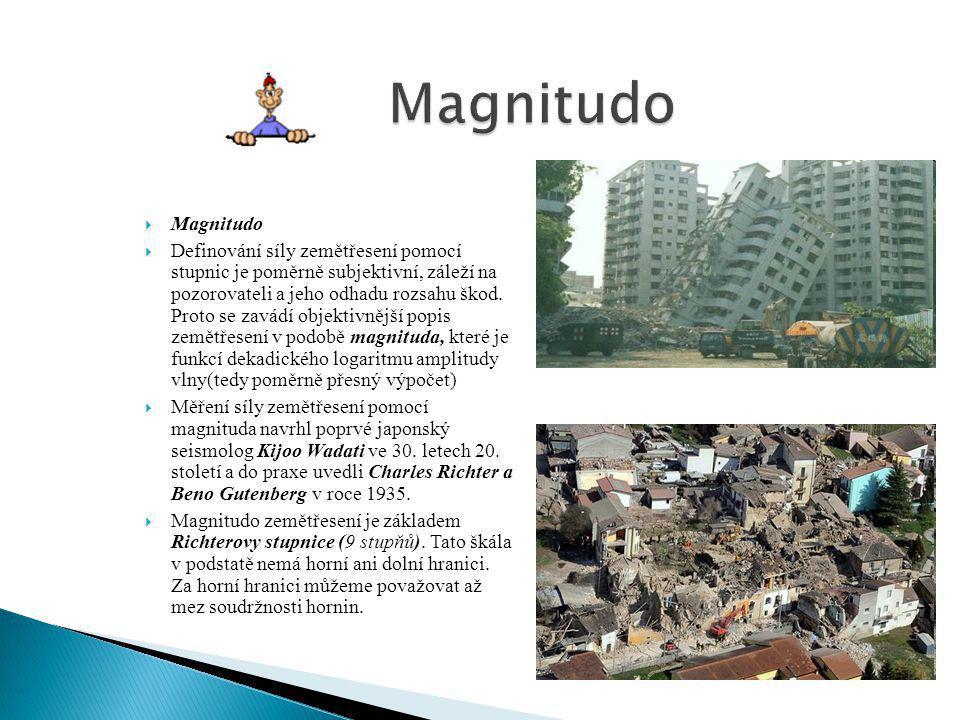  Magnitudo  Definování síly zemětřesení pomocí stupnic je poměrně subjektivní, záleží na pozorovateli a jeho odhadu rozsahu škod. Proto se zavádí ob