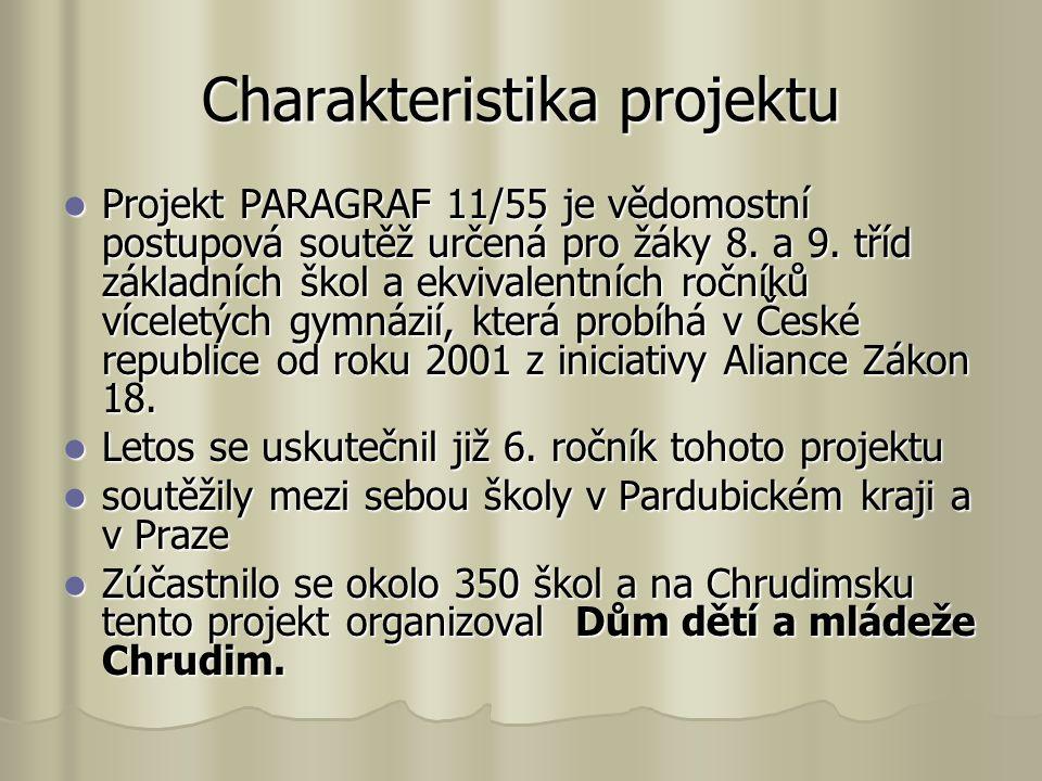 Charakteristika projektu Projekt PARAGRAF 11/55 je vědomostní postupová soutěž určená pro žáky 8. a 9. tříd základních škol a ekvivalentních ročníků v