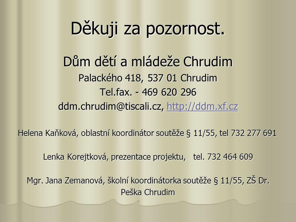 Děkuji za pozornost. Dům dětí a mládeže Chrudim Palackého 418, 537 01 Chrudim Tel.fax. - 469 620 296 ddm.chrudim@tiscali.cz, http://ddm.xf.cz http://d