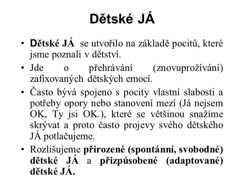 Dětské JÁ D ětské JÁ se utvořilo na základě pocitů, které jsme poznali v dětství.