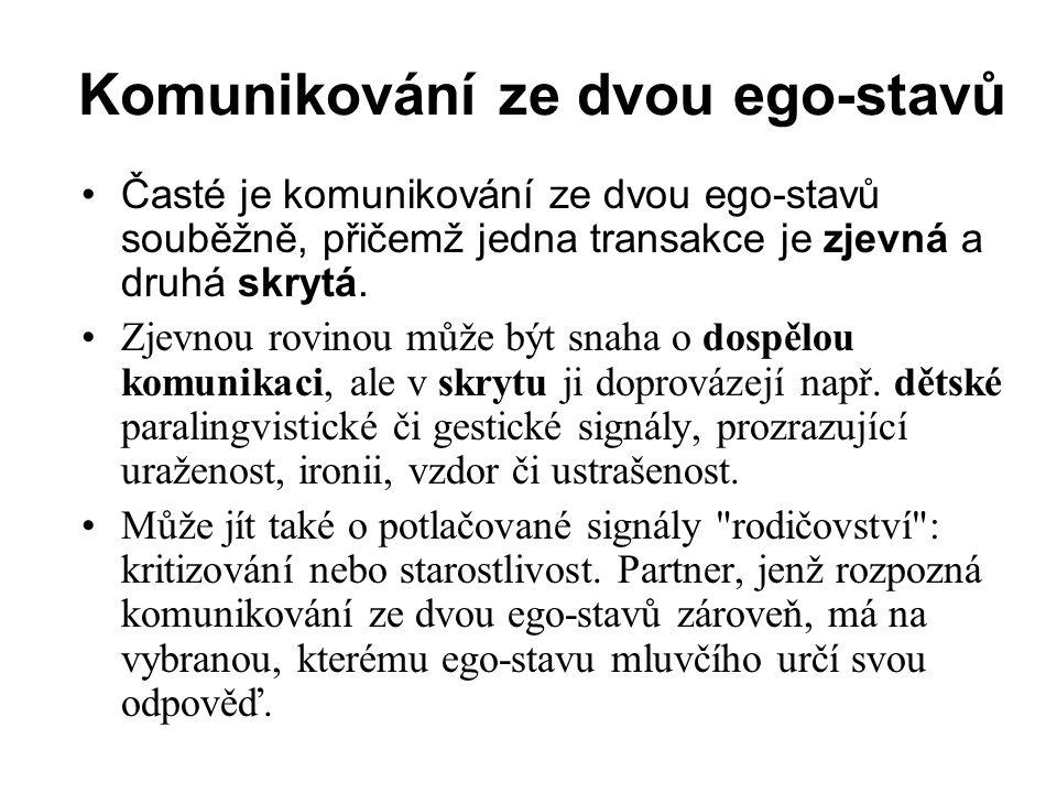 Komunikování ze dvou ego-stavů Časté je komunikování ze dvou ego-stavů souběžně, přičemž jedna transakce je zjevná a druhá skrytá.